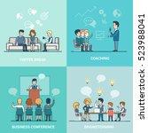 linear flat businesspeople... | Shutterstock .eps vector #523988041