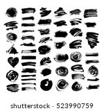 set of 52 black ink hand... | Shutterstock .eps vector #523990759