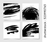 set of four black ink brushes... | Shutterstock .eps vector #523990765