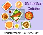 malaysian cuisine fish curry... | Shutterstock .eps vector #523992289