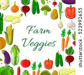 farm vegetable poster. fresh... | Shutterstock .eps vector #523992655