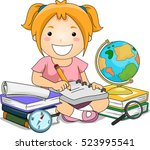 illustration of a little girl... | Shutterstock .eps vector #523995541