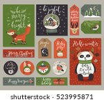 christmas cards and gift tags... | Shutterstock .eps vector #523995871