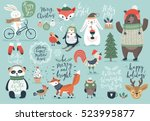 christmas set  hand drawn style ... | Shutterstock .eps vector #523995877