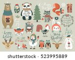 Christmas set, hand drawn style - calligraphy, animals and other elements. Vector illustration. | Shutterstock vector #523995889