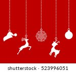 christmas decorations of paper... | Shutterstock .eps vector #523996051