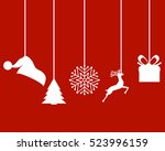 christmas decorations of paper... | Shutterstock .eps vector #523996159