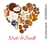 heart of nut  seed and bean... | Shutterstock .eps vector #524000314