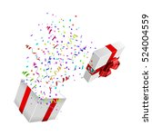 open xmas box with confetti on... | Shutterstock .eps vector #524004559