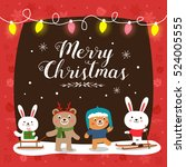 christmas card with cute... | Shutterstock .eps vector #524005555
