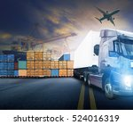 working man and container truck ... | Shutterstock . vector #524016319