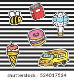 Cute Cartoon Patch On Stripe...