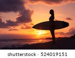 female surfer standing on the... | Shutterstock . vector #524019151