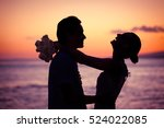 bride and groom playing in the... | Shutterstock . vector #524022085