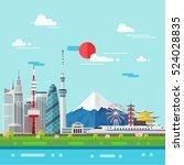 flat illustration of tokyo city ... | Shutterstock .eps vector #524028835