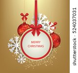 christmas greeting card. vector ... | Shutterstock .eps vector #524037031