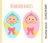 newborn babies. baby boy and... | Shutterstock .eps vector #524039389