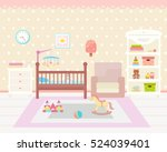 baby room interior. flat design.... | Shutterstock .eps vector #524039401
