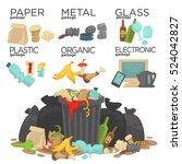 garbage sorting food waste ... | Shutterstock .eps vector #524042827