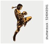 illustration of a muay thai... | Shutterstock .eps vector #524043541