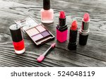 set of decorative cosmetics on... | Shutterstock . vector #524048119