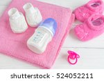 baby bottle with milk and towel ... | Shutterstock . vector #524052211