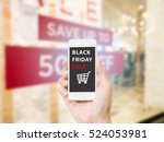 hands holding mobile phone with ... | Shutterstock . vector #524053981