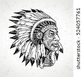 american native chief | Shutterstock .eps vector #524057761
