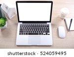 top view mock up screen laptop... | Shutterstock . vector #524059495