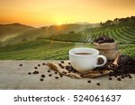 hot coffee cup with organic... | Shutterstock . vector #524061637