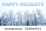 happy holidays words on winter... | Shutterstock . vector #524064511