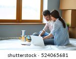 young couple sitting on the... | Shutterstock . vector #524065681