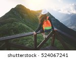 young traveling woman wearing... | Shutterstock . vector #524067241
