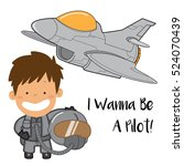 a boy want to be a jet fighter... | Shutterstock .eps vector #524070439