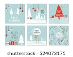 set of 6 cute gift cards and... | Shutterstock .eps vector #524073175