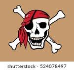 laughing pirate skull vector...   Shutterstock .eps vector #524078497