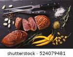 roast duck fillet with herbs...   Shutterstock . vector #524079481