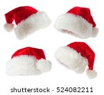 Set Of Red Santa Hats Isolated...