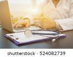 stethoscope on a prescription... | Shutterstock . vector #524082739