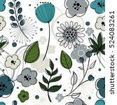 floral vector seamless pattern. ... | Shutterstock .eps vector #524083261