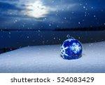 Blue Christmas Ball With...