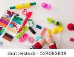 child's hands with colorful... | Shutterstock . vector #524083819