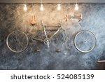 bike wheel  decorate in living... | Shutterstock . vector #524085139