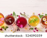 herbal tea on a white wooden... | Shutterstock . vector #524090359