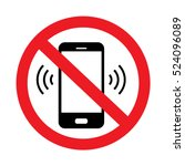 No Cell Phone Sign On White...