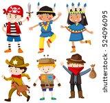 children in different costumes... | Shutterstock .eps vector #524096095