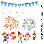 kids at party with firework... | Shutterstock .eps vector #524096125