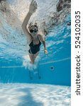 portrait of a female swimmer ... | Shutterstock . vector #524102035