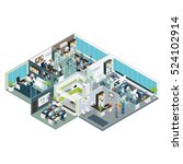 set room office isometric with... | Shutterstock .eps vector #524102914