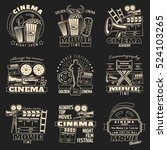 set of nine isolated cinema and ... | Shutterstock .eps vector #524103265